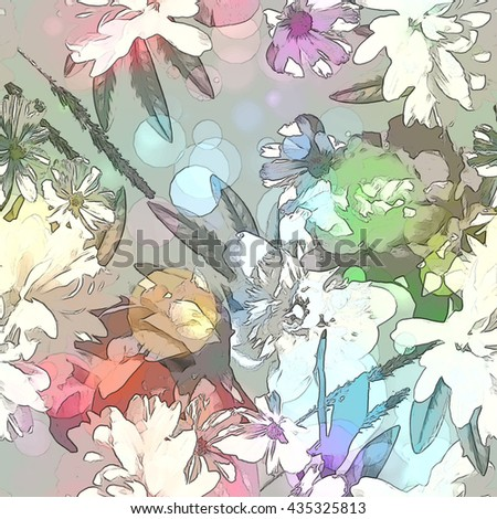 art vintage colored blurred floral seamless pattern with white, purple and green peonies on light grey background. Bokeh effect - stock photo