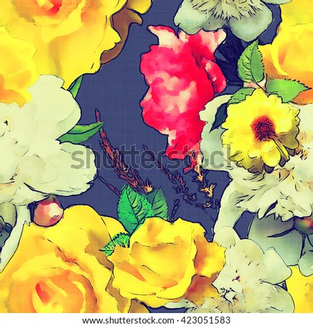 art vintage colored watercolor floral seamless pattern with white, yellow gold and pink red roses on dark blue background - stock photo