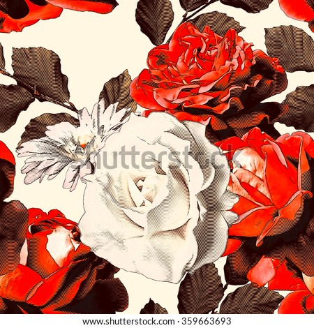 art vintage colorful watercolor and graphic floral seamless pattern with white and red roses and peonies isolated on white background - stock photo