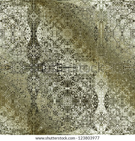 art vintage damask seamless pattern, old golden background in white, green and black colors - stock photo