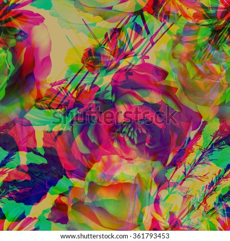 art vintage floral seamless pattern with pink purple, green and white gold roses and peonies on old gold background. Double Exposure effect  - stock photo