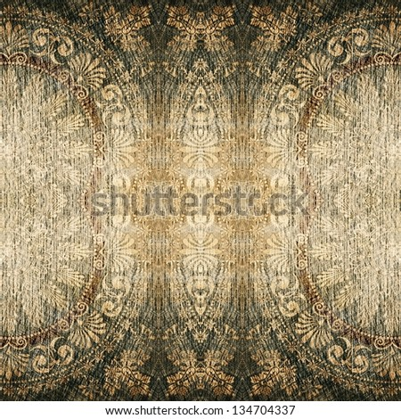 art vintage geometric damask monochrome ornamental pattern in black and beige colors - stock photo