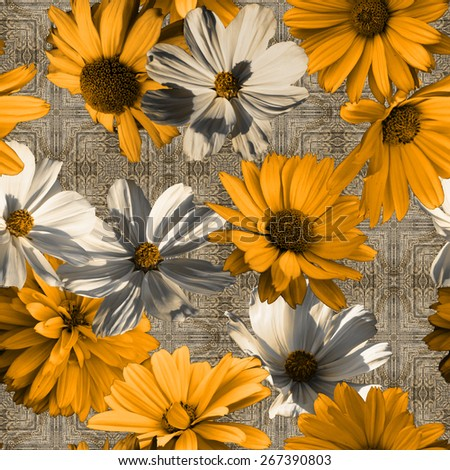 art vintage graphic and watercolor floral seamless pattern with gold orange and white asters on grey damask  background - stock photo