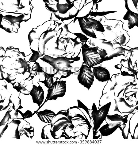 art vintage monochrome black graphic floral seamless pattern with white roses and peonies isolated on white background - stock photo