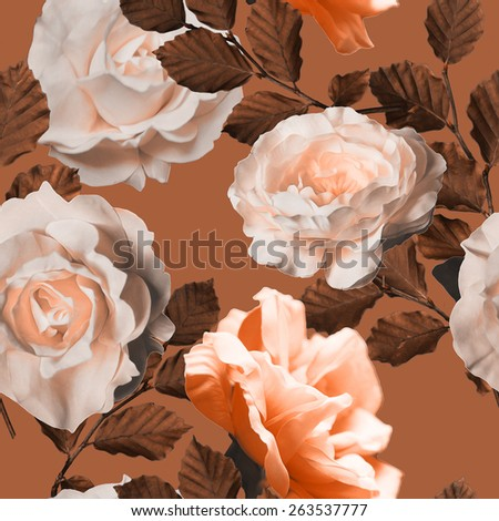 art vintage monochrome floral seamless pattern with tea white and peach roses in brown background - stock photo