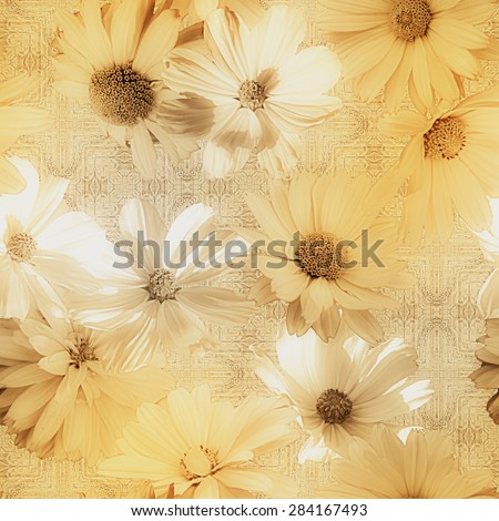 art vintage monochrome graphic and watercolor blurred floral seamless pattern with golden and white asters on gold damask  background - stock photo