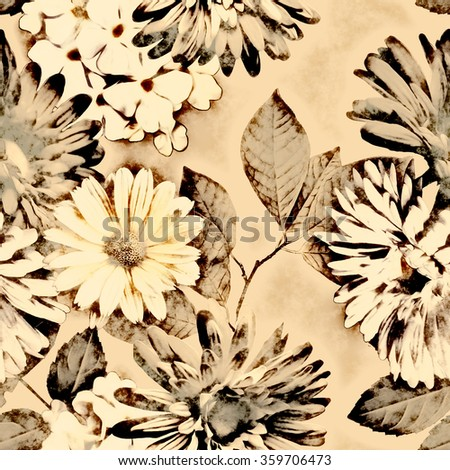 art vintage monochrome watercolor and graphic floral seamless pattern with white and brown asters, gerbera and phlox on light background - stock photo