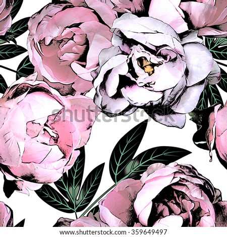 art vintage monochrome watercolor and graphic floral seamless pattern with white and pink roses and peonies isolated on white background - stock photo