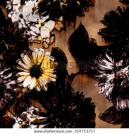 art vintage monochrome watercolor and graphic floral seamless pattern with white, black, gold and brown gerbera, asters and phlox on brown background - stock photo