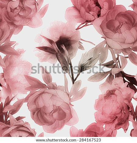 art vintage monochrome watercolor blurred and graphic floral seamless pattern with red peonies isolated on white background - stock photo