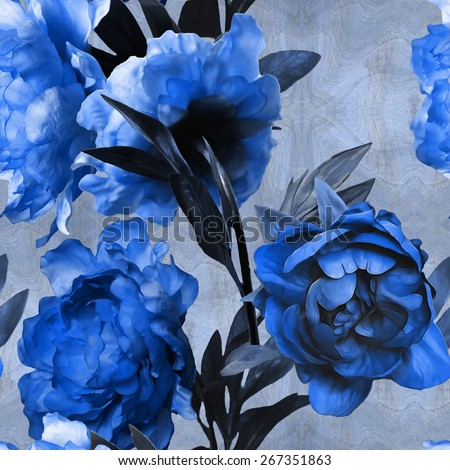 art vintage monochrome watercolor floral seamless pattern with blue peonies on blue background - stock photo