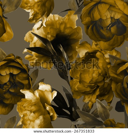 art vintage monochrome watercolor floral seamless pattern with gold peonies on dark olive grey background - stock photo