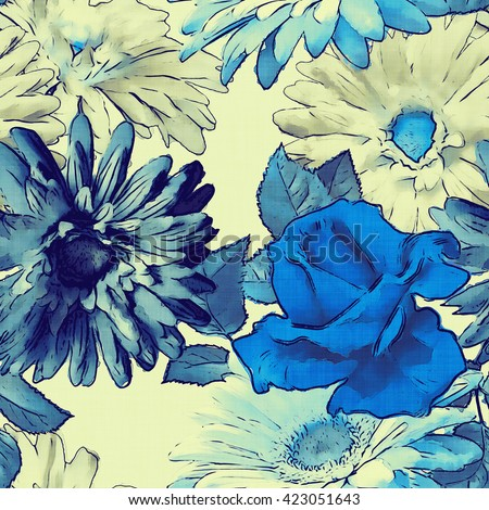 art vintage monochrome watercolor floral seamless pattern with white and blue roses, peonies, gerbera and asters on white background - stock photo