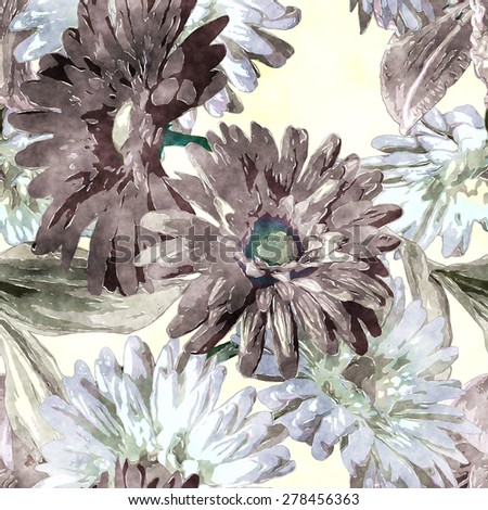 art vintage monochrome watercolor floral seamless pattern with white and brown purple gerberas on white background - stock photo