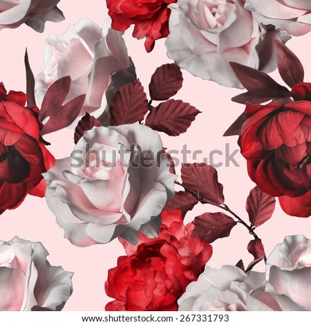 art vintage red monochrome watercolor floral seamless pattern with white roses and red peonies on white rose background - stock photo