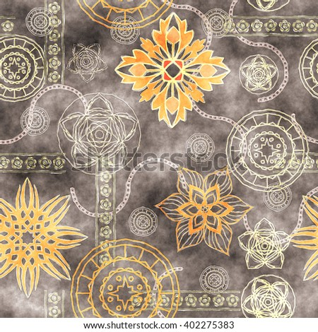 art vintage stylized geometric flowers seamless pattern, grunge colored background - stock photo