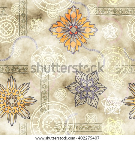 art vintage stylized geometric flowers seamless pattern, grunge colored background - stock photo