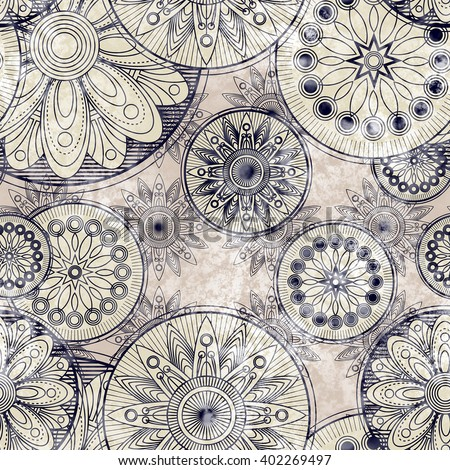 art vintage stylized geometric flowers seamless pattern, monochrome background with  black and white colors - stock photo