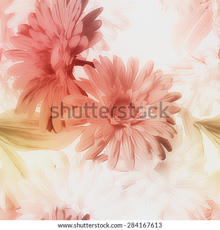 art vintage watercolor blurred floral seamless pattern with red and white lilies and gerberas isolated on white background  - stock photo
