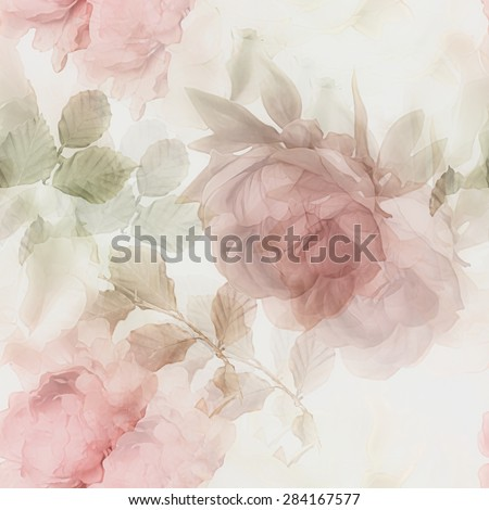 art vintage watercolor blurred floral seamless pattern with white roses and red peonies isolated on white background. Double Exposure effect - stock photo