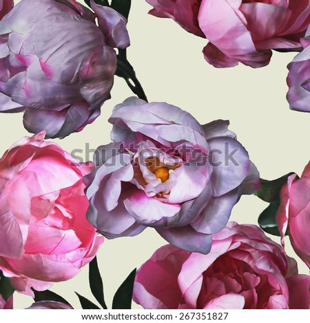 art vintage watercolor floral seamless pattern with pink and lilac peonies isolated on light background - stock photo
