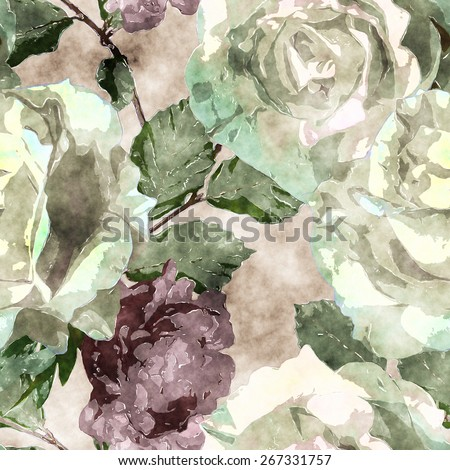 art vintage watercolor floral seamless pattern with white roses and purple peonies on beige background - stock photo