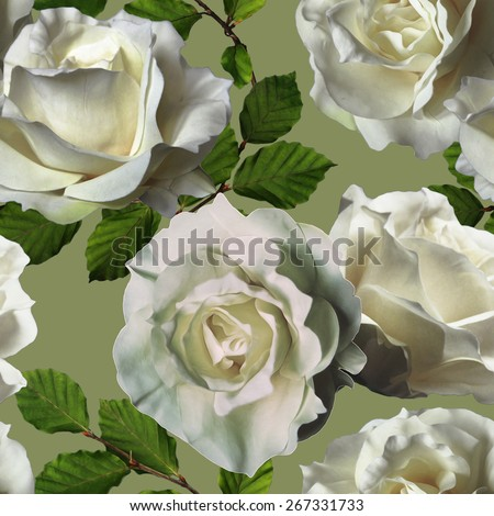 art vintage watercolor floral seamless pattern with white roses on green background - stock photo