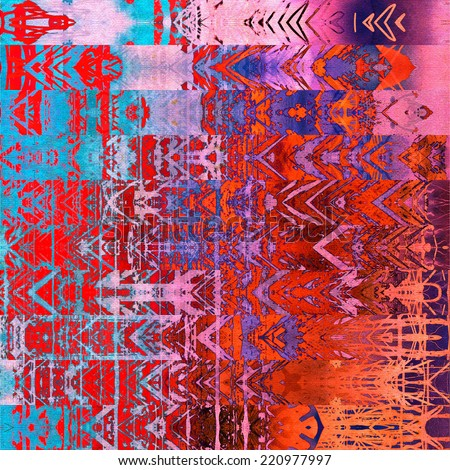 art watercolor abstract geometric horizontal stripes pattern background in red, fuchsia, pink, orange and blue colors; vertical seamless ornament - stock photo