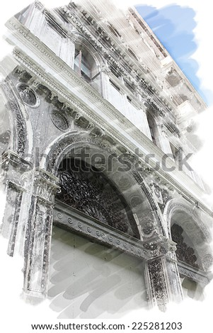 art watercolor background isolated on white basis of street and detail of buildings in Venice, Italy - stock photo