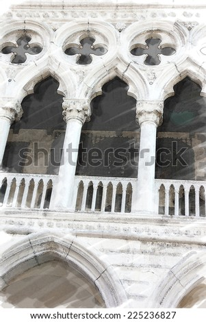 art watercolor background isolated on white basis with detail of facade of St Mark's basilica in Venice, Italy - stock photo