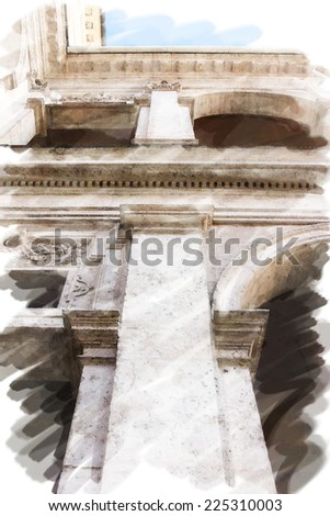 art watercolor background isolated on white basis with european antique town, Italy, Rome. Detail of classic order, small-caps in patio - stock photo