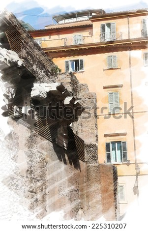 art watercolor background isolated on white basis with european antique town, Italy, Rome. Detail of classic small-caps on Pantheon - stock photo