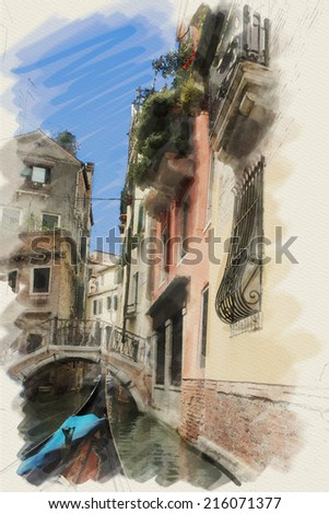 art watercolor background on paper textured with street,  channel, bridge and gondola in Venice, Italy - stock photo