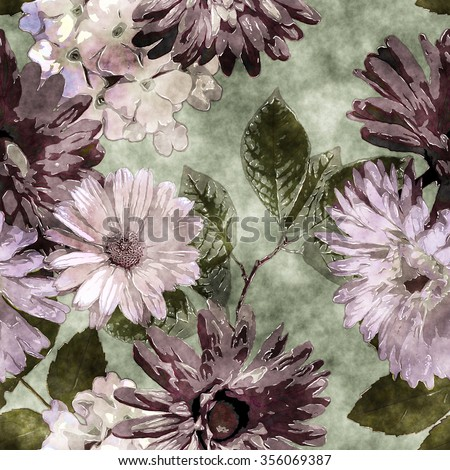 art watercolor vintage floral seamless pattern with purple, lilac, pink and white asters, phlox and gerbera on green background - stock photo