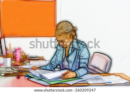 art woman working at her office. - stock photo