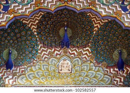 Art work in City Palace. Jaipur, Rajasthan, India - stock photo