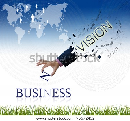 """art work of business hand with the """" business """" word with nature background. - stock photo"""