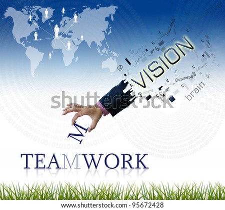 """art work of business hand with the """" teamwork """" word with nature background. - stock photo"""