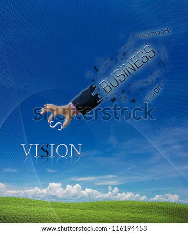 art work of business hand with word on nature background. - stock photo