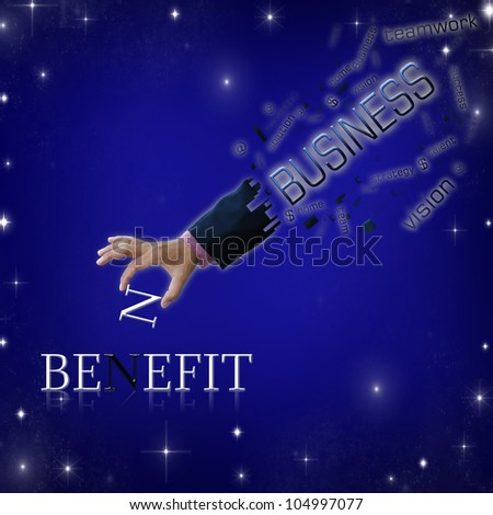 art work of business hand with wording with modern abstract background. - stock photo