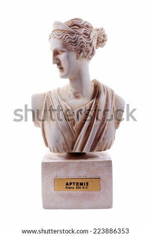 Artemis was the great Olympian goddess of hunting, wilderness and wild animals. She was also a goddess of childbirth, and the protectress of the girl child up to the age of marriage. - stock photo