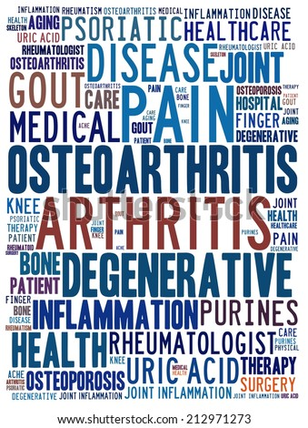 Arthritis in word collage - stock photo