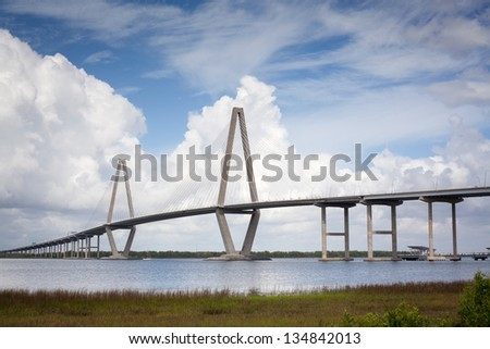 Arthur Ravenel Jr. Cooper River Bridge Charleston South Carolina Blue Skies & Clouds - stock photo