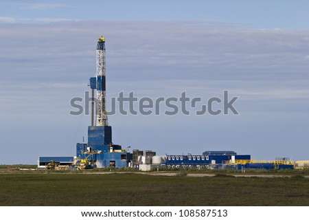 artic drilling rig 4 - stock photo
