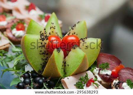 Artichoke Toasts and melon - stock photo