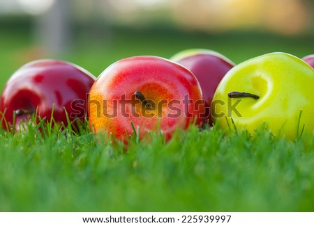 artificial apples lie on a green grass - stock photo