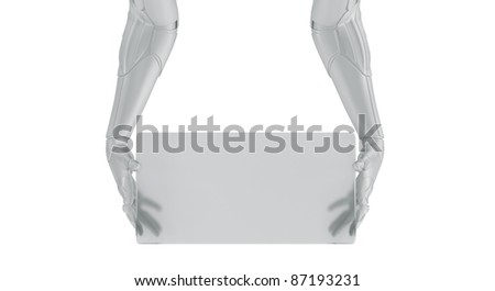 Artificial arm with board - stock photo