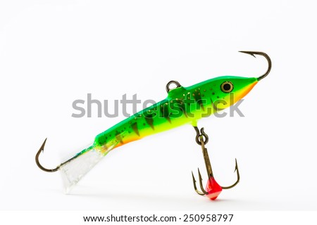 Artificial bait for fishing, on white background - stock photo