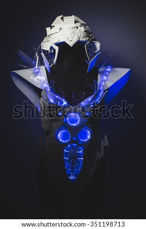 Artificial Blue LED lights armor made with plastics and lightweight materials. - stock photo