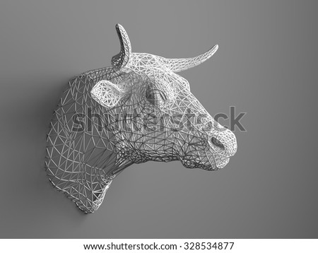 Artificial bull's head hanging on the wall. Polygonal head of a bull. Cows from the three-dimensional grid. The object of art on the wall. Volume model. Meshwork. - stock photo